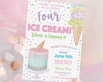 Ice Cream Sprinkles Invitation • Ice Cream Parlor • Sprinkles • Birthday Invitation • Edit with Corjl