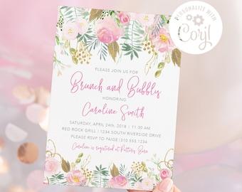 Brunch and Bubbly Shower Invitation.  Digital File