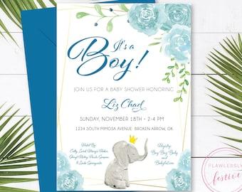 Baby Shower Invitation • Elephant Theme Baby Shower • Baby Boy