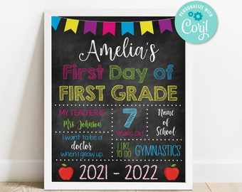 First Day of School Sign • 8.5x11 • Instant Download • Edit Yourself