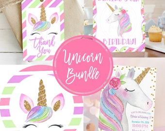 Unicorn Invitation Bundle • Invitation • Tags • Signs • Cupcake Toppers • Water Bottle Wraps • Edit with Corjl