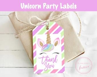 Unicorn Labels • Unicorn Tags • Unicorn Party Favor Tags • Unicorn Gift Tags