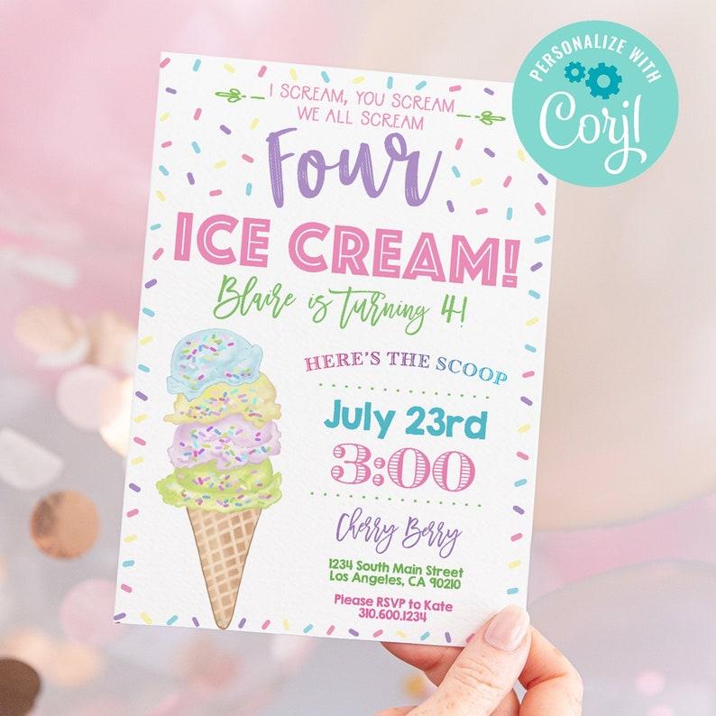 Ice Cream Invitation  Ice Cream Parlor  Sprinkles  image 1