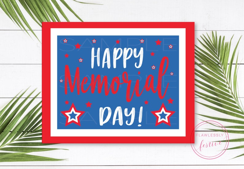 photograph relating to Closed for Memorial Day Printable Sign referred to as Satisfied Memorial Working day Indicator // Memorial Working day Social gathering // Memorial Working day Printables