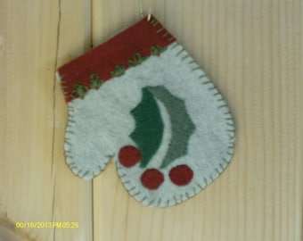 Holly And Berries Felted Mitten