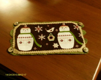 Snowflakes and Snowmen Penny Rug