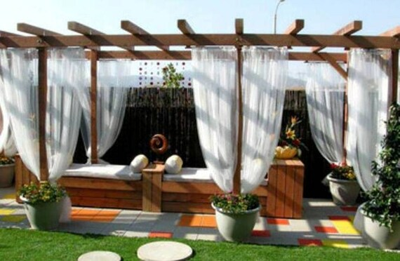 Sunbrella Outdoor Sheer Curtain Panels 1 Pair 2 Panels With Etsy