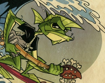 "Surf Creature - Signed 8""x10"" Art Print by Rob Kramer"