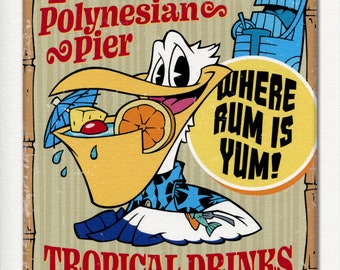 "Pelican Pete's Polynesian Pier - Signed 8""x10"" Art Print by Rob Kramer"
