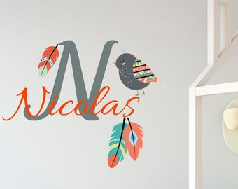 Name Decal with Bird, Personalized Custom Decal, Childrens Wall Decals, Girl Name Decal, Birds Nursery Decor ba18