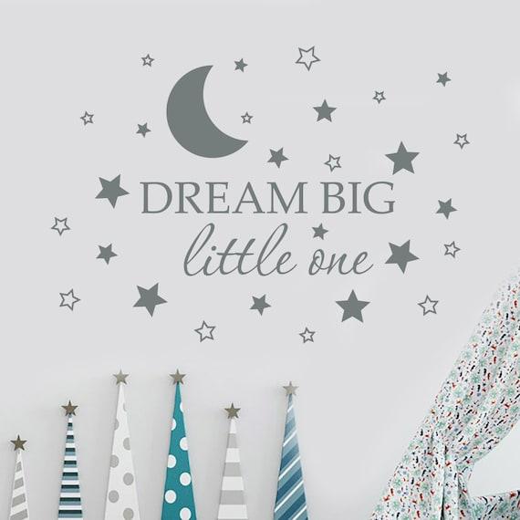 Rêver Grand Un Mur Peu Sticker Citation Autocollant Pépinière Decor Autocollant étoile Lune Enfants Chambre Decor Devis Mur Autocollant Crèche Flex