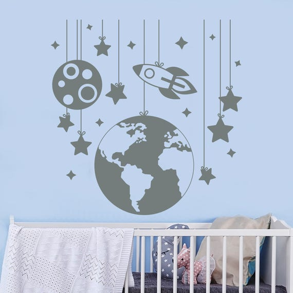 5bad24463a62 Planet Wall Decals. Rocket Decal. Nursery Room Decor. Space | Etsy