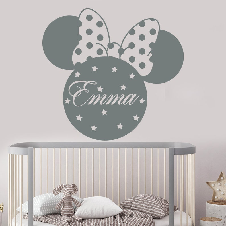 mickey mouse wall decal girls name wall decal name sticker | etsy