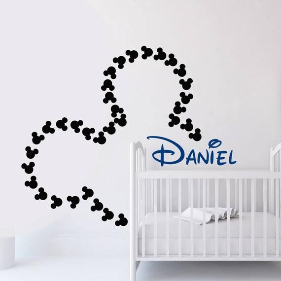 Sticker Mural Mickey Mouse Stickers Muraux De Nom Art Mural Etsy