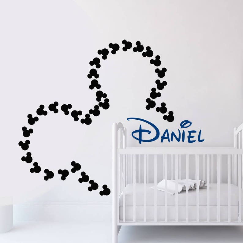 Mickey-Mouse Wandtattoo. Wandtattoo Name. Kinderzimmer | Etsy