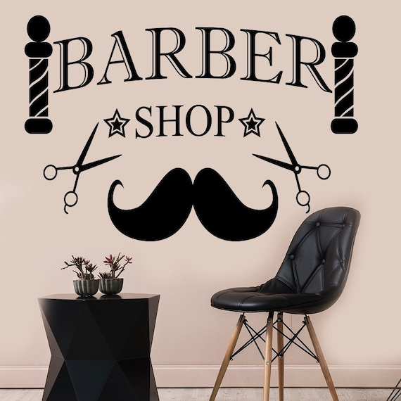 mustache wall decals barber shop decal hair man beauty salon | etsy