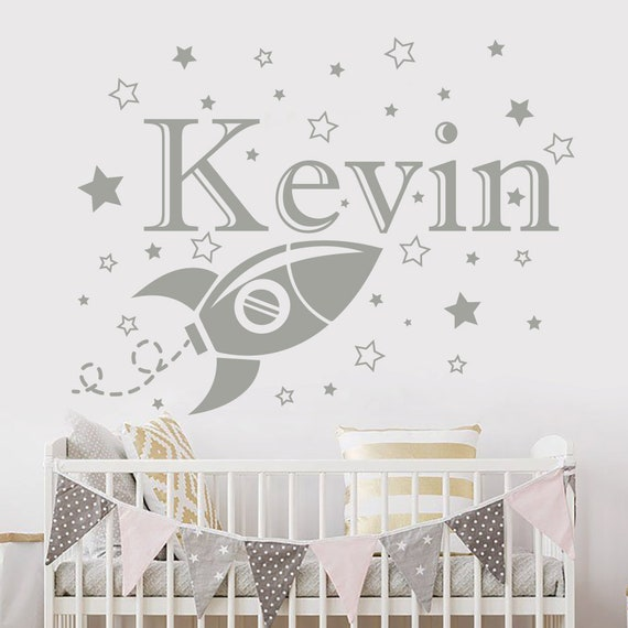 Personalized Name Wall Decal Rocket Decals Boys Name Sticker Nursery Decor MA62