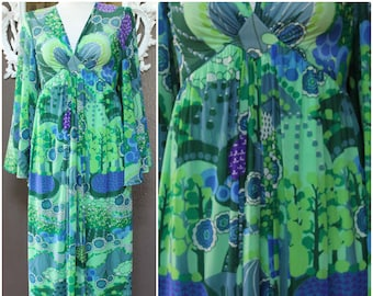 VTG I MAGNIN Robert David Morton butterfly sleeve empire Maxi dress mod fabric green blue near mint bohemian hippy chic elegant