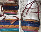 Vintage 80s Sharif multi color cross body purse leather handbag snake pink magenta gold blue turquoise green tassel zipper made in usa