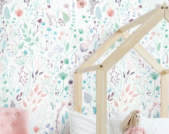Wild Flowers Mural Wallpaper, Watercolor Floral Wall Art, Peel and Stick Wall Mural