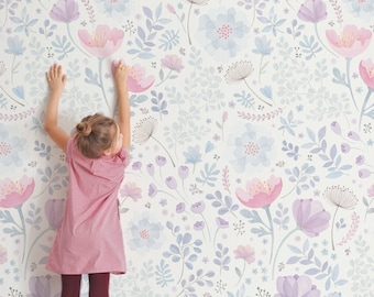 Whimsy Floral Watercolor Mural Wallpaper, Pink Purple, Peel and Stick Wall Mural