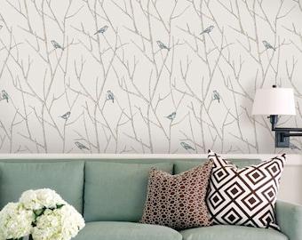 Branch Birds Blue Peel & Stick Fabric Wallpaper Repositionable