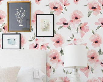 Floral Wallpaper Watercolor Poppy Flowers Pink, Peel & Stick Fabric Wallpaper Repositionable