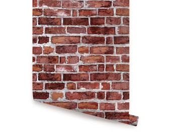 Red Brick Self Adhesive Fabric Wallpaper Repositionable
