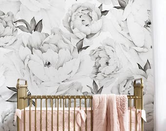 Peony Flower Mural Wallpaper Black And White Watercolor Extra Large Wall Art Peel Stick Poster
