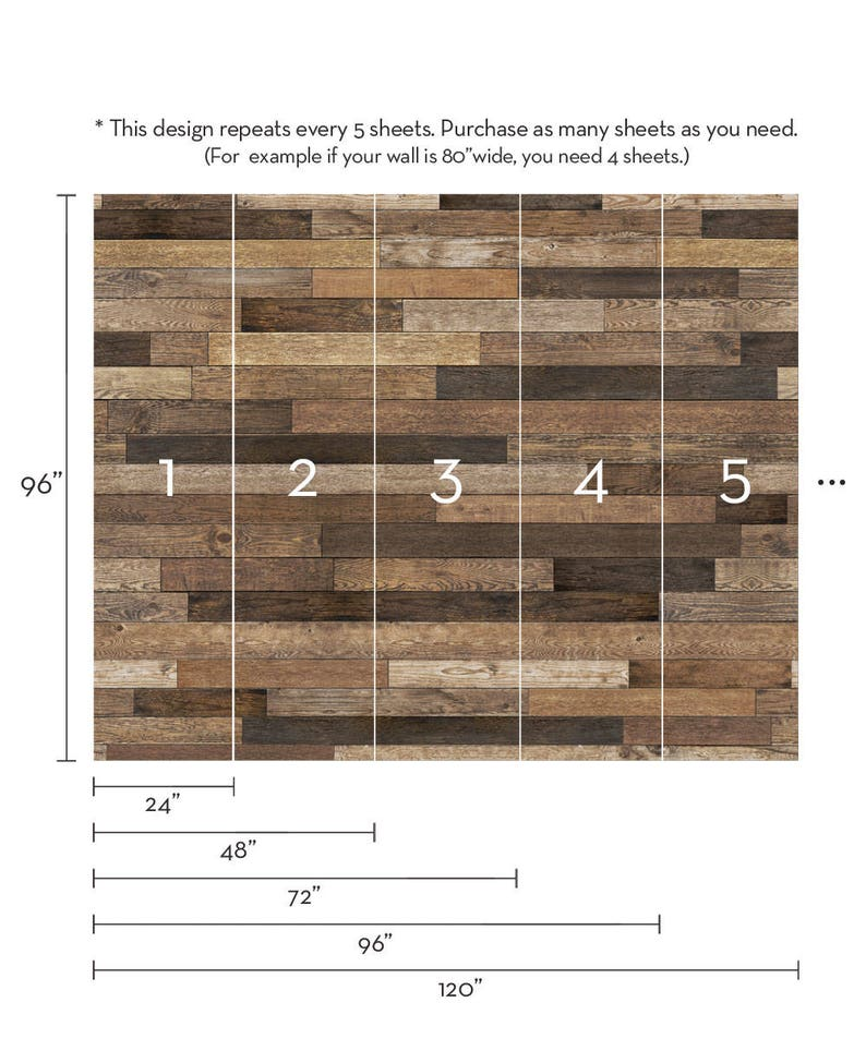 Extra Large Wall Art Brown Wood Peel and Stick Wall Poster Reclaimed Wood Accent Mural Wallpaper