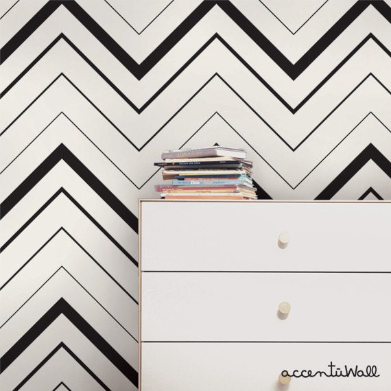Chevron Bold Black Peel Stick Fabric Wallpaper Etsy
