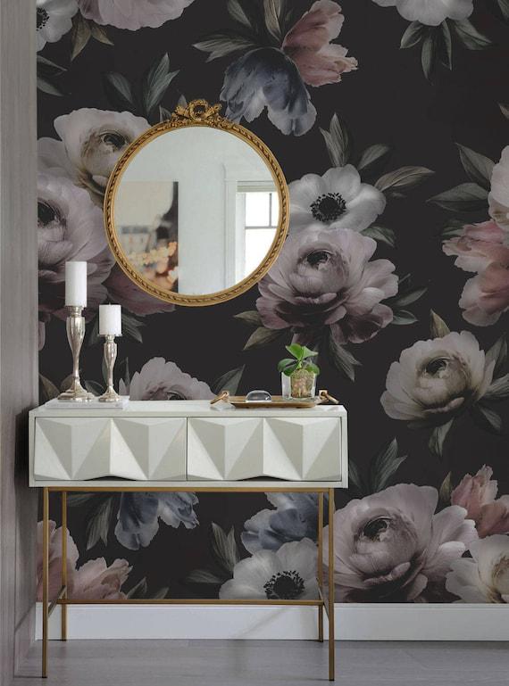 Dunkle Wandbild Tapete Mitternacht Blumen Blume Extra Große Etsy