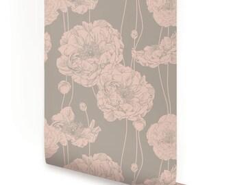 Peony Shell Pink Peel & Stick Fabric Wallpaper Repositionable