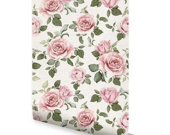 ROSE WALLPAPER - Peel & Stick Fabric Wallpaper Repositionable
