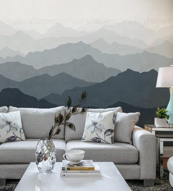 Mountain Mural Wallpaper Grayish Navy Ombre Mountain Extra
