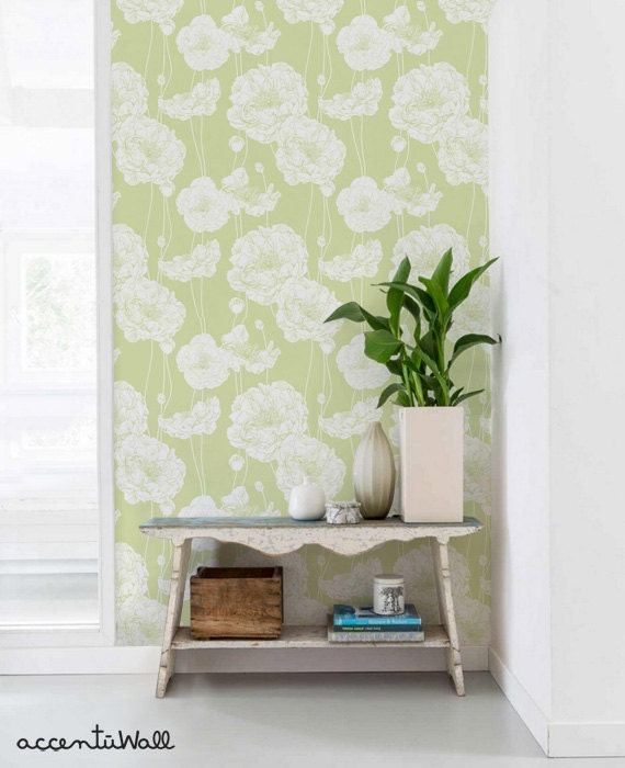 Peony Lime Green Peel Stick Fabric Wallpaper Repositionable Etsy