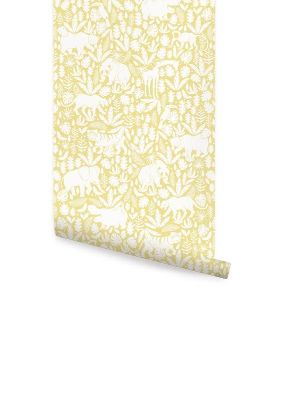 Jungle Animals Pattern Yellow Peel Stick Fabric Wallpaper Etsy