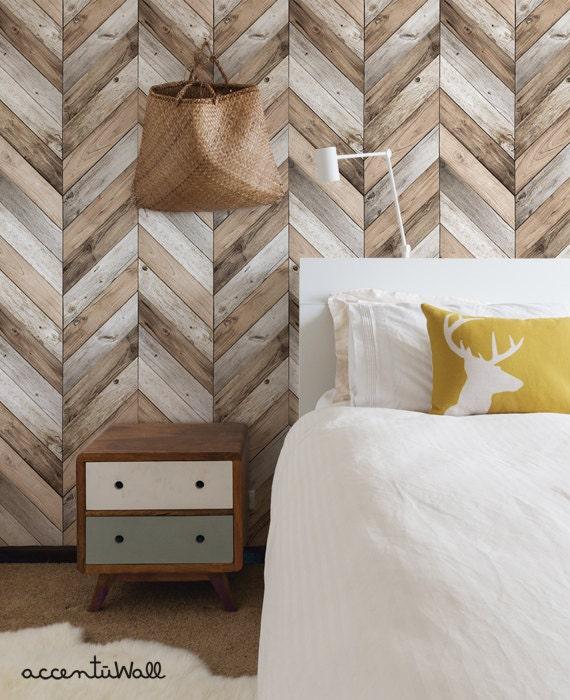 Chevron Wood Herringbone Wallpaper Original Self Adhesive Etsy