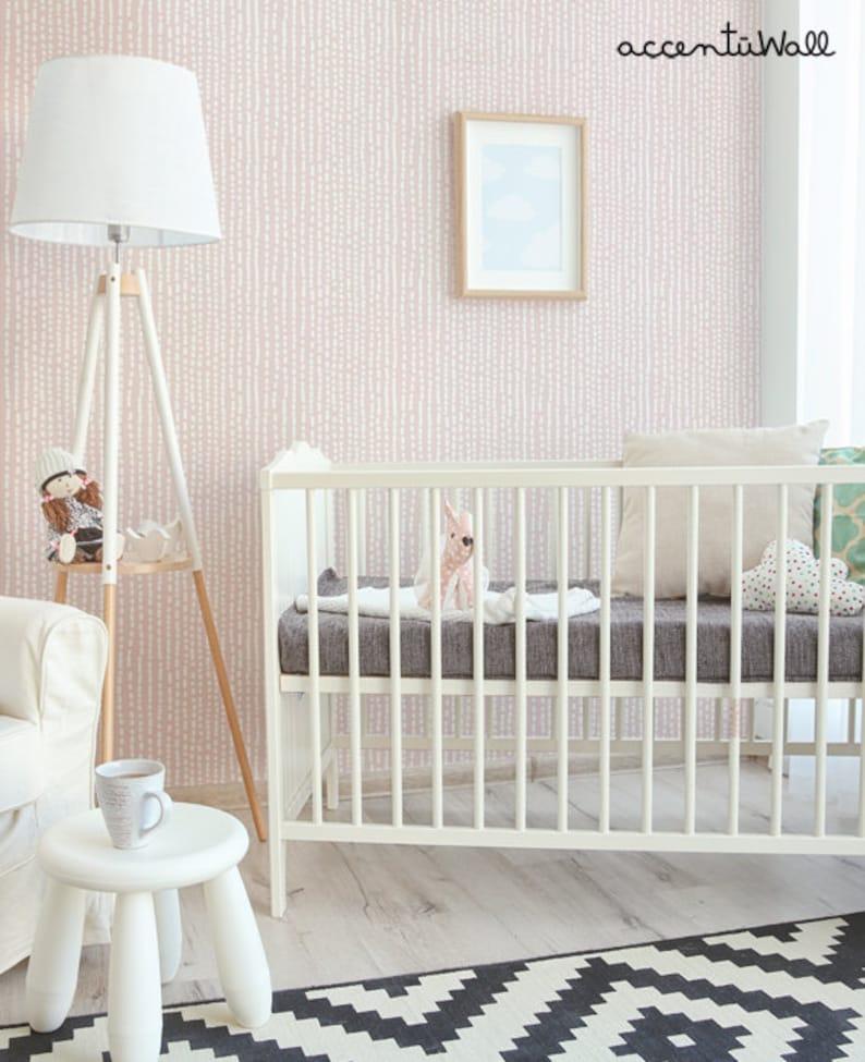 Line Art Pale Pink Peel Stick Fabric Wallpaper Repositionable