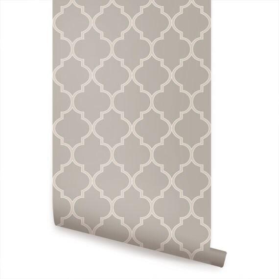 Moroccan Warm Grey Peel Stick Fabric Wallpaper Etsy