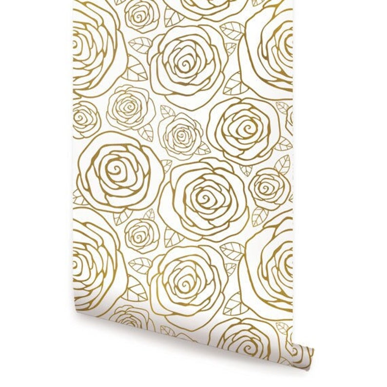Gold Roses Peel & Stick Fabric Wallpaper Repositionable image 0
