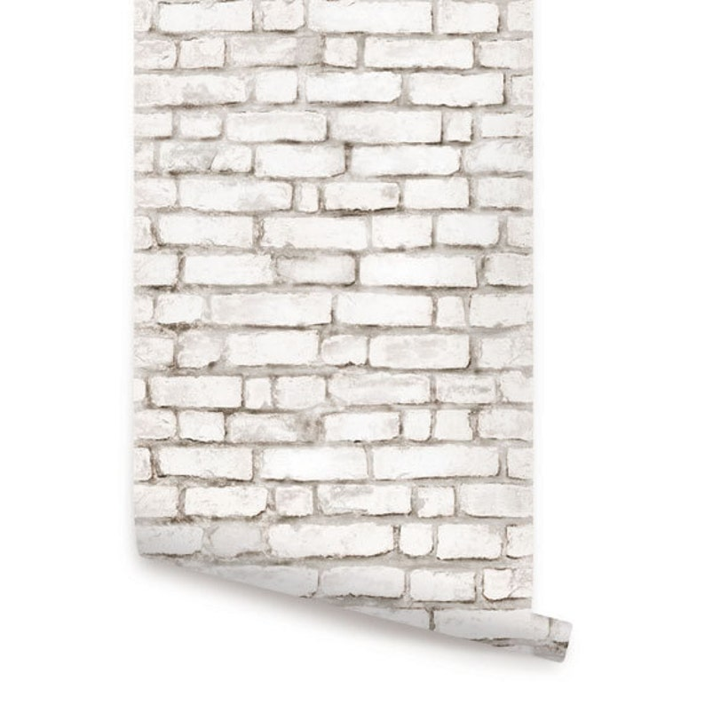 White Brick Wallpaper Aged Vintage Look Self Adhesive Fabric Wallpaper Repositionable