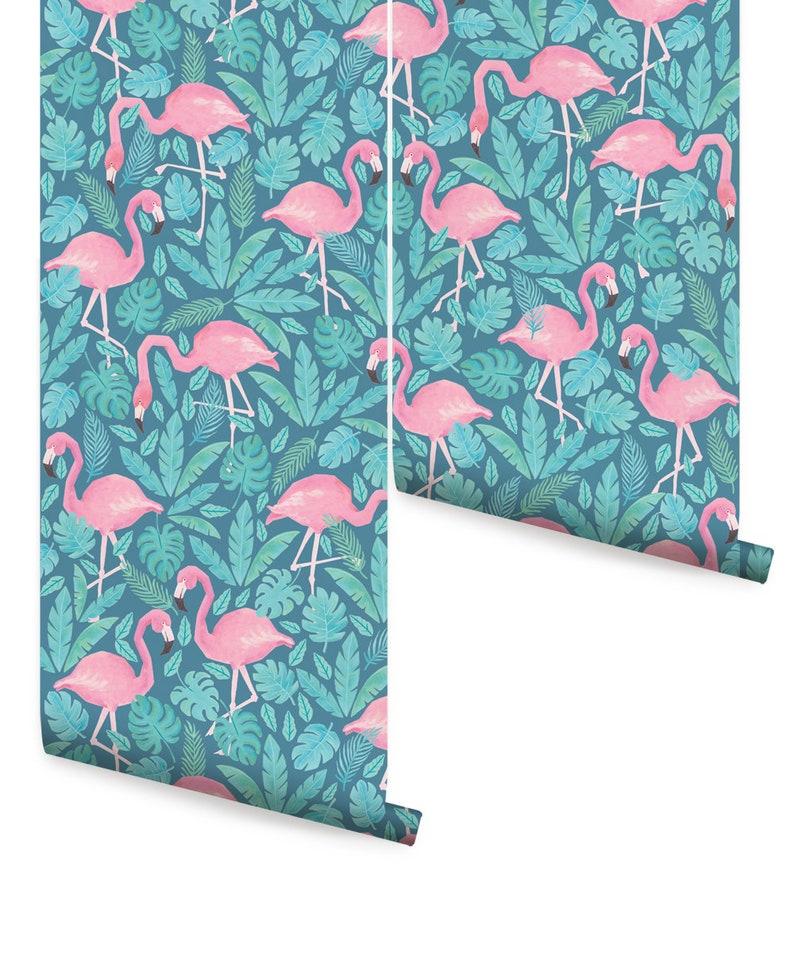 Tropical Flamingo Pink Teal Peel /& Stick Fabric Wallpaper