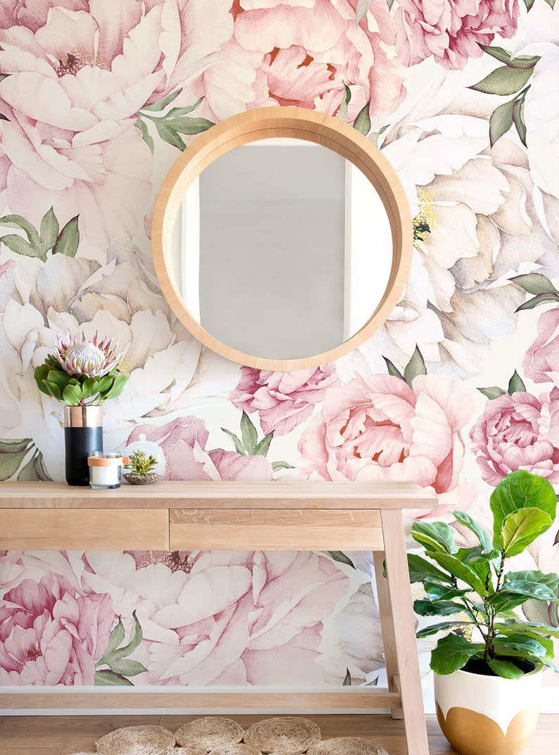 Peony Flower Mural Wallpaper Mixed Pink Watercolor Peony