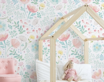 Whimsy Floral Watercolor Mural Wallpaper, Coral Mint, Peel and Stick Wall Mural