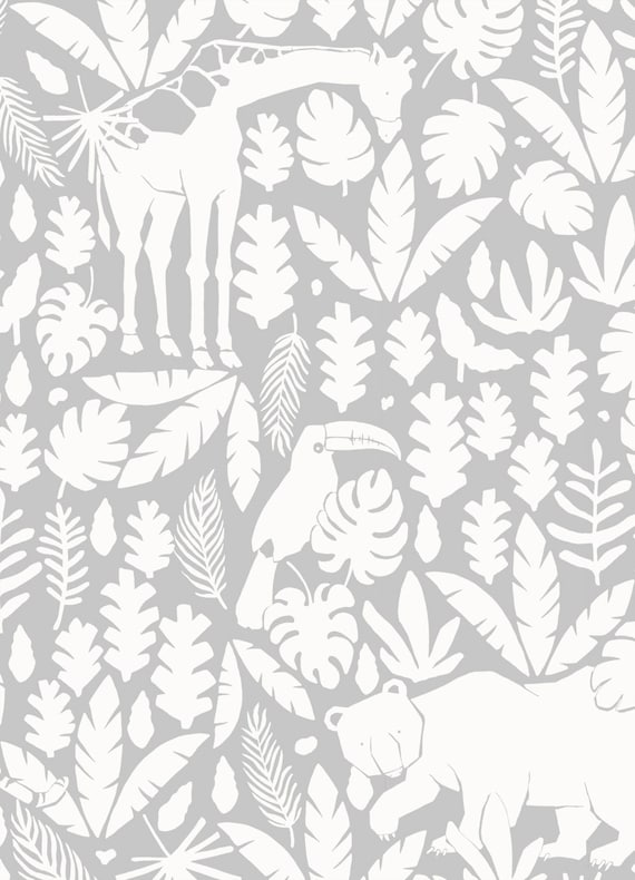 Jungle Animals Pattern Cool Grey Peel /& Stick Fabric Wallpaper Repositionable