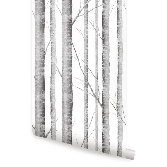 Birch tree wallpaper removable peel stick fabric - Birch tree wallpaper peel and stick ...