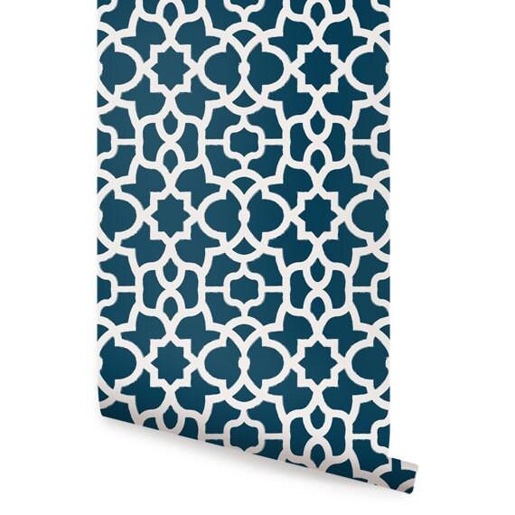 Trellis White Navy Peel Amp Stick Fabric Wallpaper Etsy