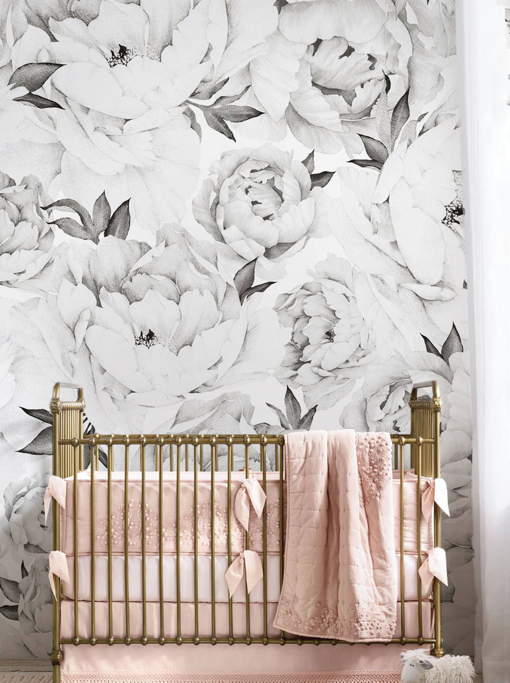 Peony Flower Mural Wallpaper Black And White Watercolor Etsy