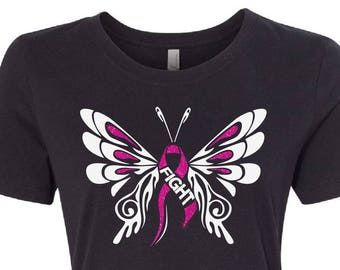 Breast cancer shirt, breast cancer awareness, pink ribbon, awareness month, fight cancer, fight like a girl, butterfly shirt, pink shirt